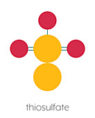 Thiosulfate anion chemical structure, illustration