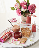 Raspberry curd, toast hearts and smoothies for Valentine's Day