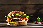 Mediterranean cheeseburger