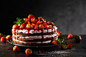A layered strawberry cake