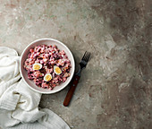Rosolli - Finnish beetroot herring salad for Christmas and New Year