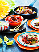 Lamb Fajitas with Tomato salsa and Jalapeno Sour Cream
