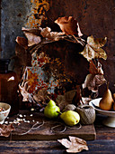 Background, pears and leaves