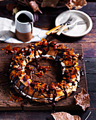 Paris-Brest with Chestnut puree and chocolate sauce