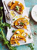 Almond skordallia and pumpkin bruschetta
