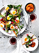 Roasted carrot, Radish and Egg sald with Romesco sauce