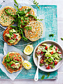 Pea Fritters with Avocado Goats Cheese