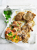 Dukkah Chicken with Haloumi and Peach Salad