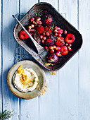 Honey Baked Plums and Grapes with Sweet Ricotta