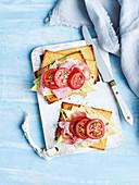 Sesame Tahini Crackers with Jarlsberg, Ham and Vinegar Tomatoes