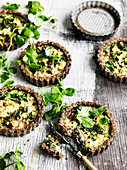 Kale and walnut tarts