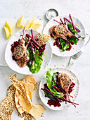 Dukkah Lamb Cutlets with Smashed Beetroot