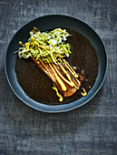 Steamed glazed pork belly with a cabbage salad and mayonnaise