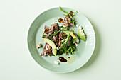 Roast beef salad with avocado (keto cuisine)