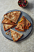 Vegetarian quesadillas with peppers, tomatoes and cheese