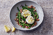 Warm bean salad with burrata