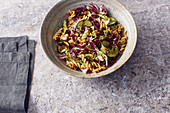Lentil pasta with courgettes and radicchio