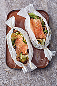 Salmon parcels with bok choy and sesame seeds