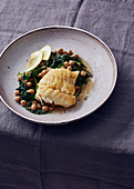 Cod with chickpeas and spinach