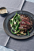 Beef minute steaks with an almond and thyme sauce