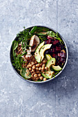 Vegan Buddha bowl with chickpeas and avocado
