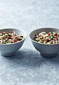 Vegan quinoa salad with a tahini dressing