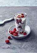 White chocolate cream with raspberries