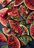 Grilled watermelon with mint pesto