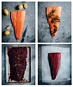 Prepare salmon pickled with beetroot