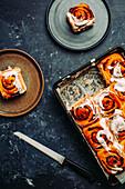 Homemade cinnamon buns with icing