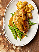 Pheasant with green beans and rosemary potatoes