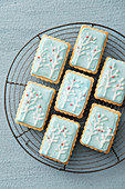 Biscuits decorated with white peach trees