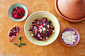 Beetroot salad with walnuts, pomegranate seeds and feta cheese