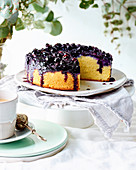 Almond, blueberry and vanilla cake