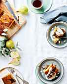 Pear, sage and almond upside-down tray cake with vanilla sauce