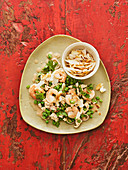 Thai bean salad with chicken and prawns