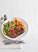 Balsamic steaks with peppercorn wedges