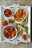 Stuffed Peppers with Avocado Toast and Roasted Sweet Potato Chips