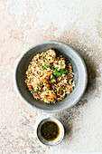 Israeli roasted couscous with prawns