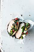 Israeli sabich (aubergine sandwich with egg)