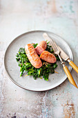 Kale with garlic and fennel salsiccia