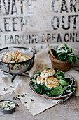 Cabbage, Sprout and Kale salad with Ricotta Fritters