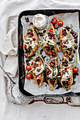 Baked Sweet Potatoes with Tempeh 'Bacon'