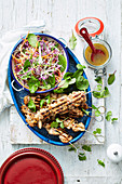 Chicken Satay Skewers with Crunchy Rainbow Salad