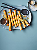 Greek flaounes cigars, honey and lime dressing