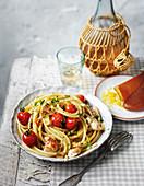 Bucatini with crab, grape tomatoes and bottarga