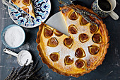 Freshly baked mascarpone fig tart