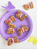 Butterfly Fairy Bread für eine Kinderparty