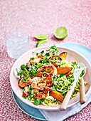 Ginger Prawn and Zucchini noodle Sala