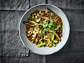 Oriental glass noodle salad with minced venison